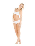 Beautiful woman in white cotton underwear Stock Images