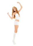 Beautiful woman in white cotton underwear Stock Photos