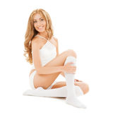 Beautiful woman in white cotton underwear Royalty Free Stock Images