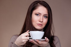 Beautiful woman with white cup coffee Stock Photos
