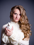 Beautiful woman with white dove Stock Photography