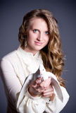 Beautiful woman with white dove Stock Image