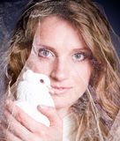 Beautiful woman with white dove Royalty Free Stock Images