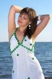 Beautiful woman in white dress Stock Photo