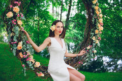 Beautiful woman in white dress Royalty Free Stock Images