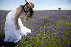 Beautiful woman in white dress outdoors Royalty Free Stock Image