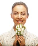 Beautiful woman with white flower Royalty Free Stock Photo