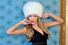 Beautiful woman in white fur hat Stock Photos