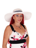 Beautiful woman with white hat. Royalty Free Stock Images