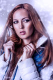 Beautiful woman in white jacket Royalty Free Stock Photography