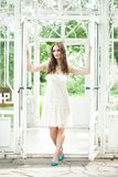 Beautiful Woman in White Lacy Dress Royalty Free Stock Image