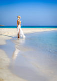 Beautiful woman in white,Nissi beach,ayia napa cyprus 2 Stock Photo