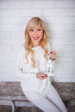Beautiful woman in white Stock Image