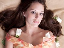 Beautiful Woman With White Roses Royalty Free Stock Image