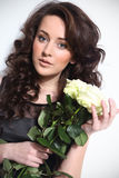 Beautiful woman with white roses Royalty Free Stock Photos