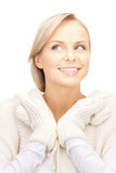 Beautiful woman in white sweater Stock Images