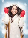 Beautiful woman in white sweater Stock Photos