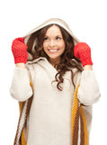 Beautiful woman in white sweater Stock Photography