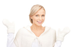 Beautiful woman in white sweater Royalty Free Stock Image