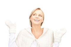 Beautiful woman in white sweater Royalty Free Stock Photography