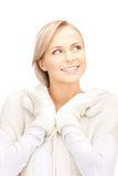 Beautiful woman in white sweater Stock Image