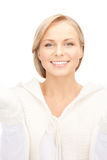 Beautiful woman in white sweater Royalty Free Stock Photos
