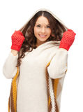 Beautiful woman in white sweater Stock Photos