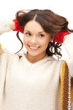 Beautiful woman in white sweater Royalty Free Stock Photo