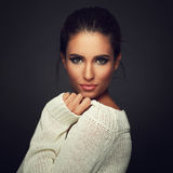 Beautiful woman in white sweater Royalty Free Stock Images