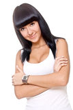 Beautiful woman in a white T-shirt Stock Photography