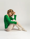 Beautiful woman in white tights Royalty Free Stock Photography