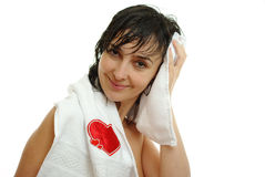 Beautiful woman in white towel Royalty Free Stock Image