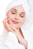 Beautiful woman in white towel Stock Photography