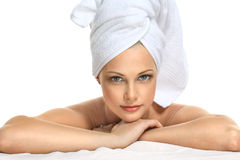 Beautiful woman in white towel Royalty Free Stock Images