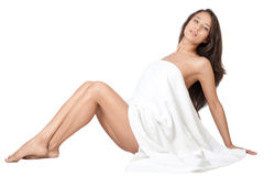 Beautiful woman with a white towel Stock Photography
