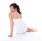 Beautiful woman in white towel Stock Images