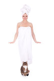 Beautiful woman in white towel Royalty Free Stock Photos