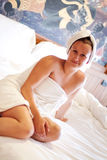Beautiful woman in white towel Stock Photos