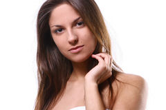 A beautiful woman with white towel Royalty Free Stock Photos