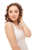 Beautiful woman in white vest smiling Royalty Free Stock Photos