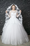 Beautiful woman in white wedding dress Royalty Free Stock Images