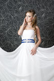 Beautiful woman in white wedding dress Stock Photography