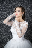 Beautiful woman in white wedding dress Royalty Free Stock Image