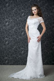 Beautiful woman in white wedding dress Stock Photography