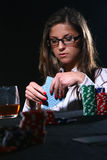 Beautiful Woman Who Playing Poker Stock Photography