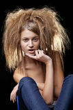Beautiful woman with wild hair Stock Photo