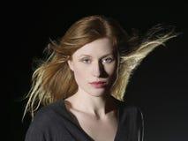 Beautiful Woman With Windswept Hair Stock Photo