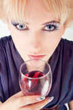 Beautiful woman with wine Royalty Free Stock Photo