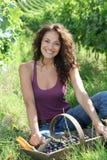 Beautiful woman in wine rows Stock Photo