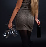 Beautiful woman with  wine Royalty Free Stock Image